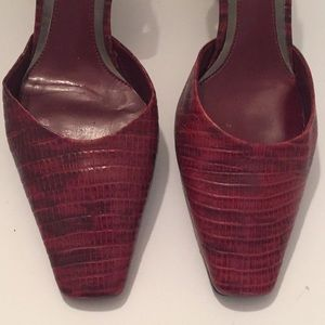 Michelle D Shoes - Michelle D red faux snake skin kitten heels size 6